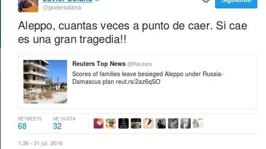 Tuit Javier Solana