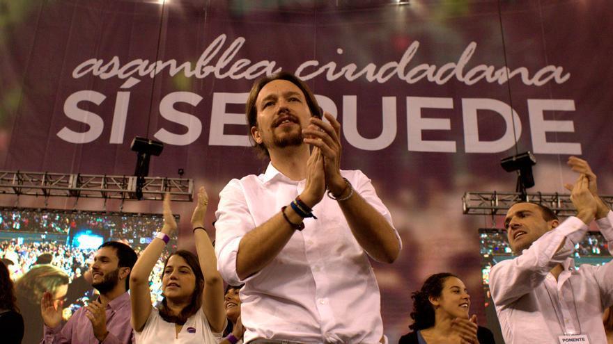 Pablo Iglesias en el Palacio de Vistalegre el día de la celebración de la Asamblea de Podemos. \ Marta Jara.