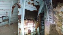 Tres momentos diferentes del proceso de degradación de las chapas de enfilaje que puede verse a lo largo de los trescientos metros iniciales del Túnel en su boca de Hermosilla.