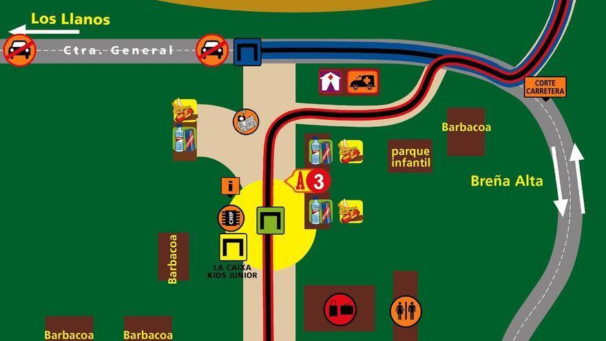 En la imagen, croquis Regulación del tráfico en la zona del  Refugio del Pilar (Nano Barbero/Transvulcania)
