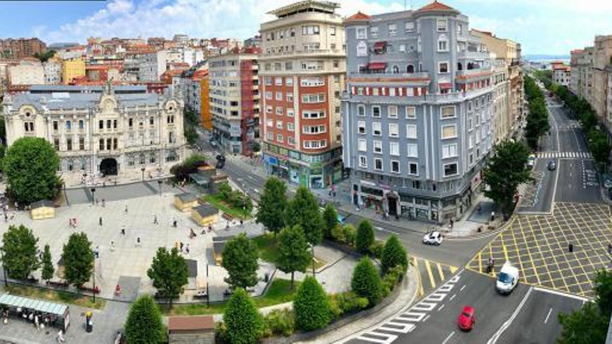 Plaza del Ayuntamiento, en el centro de Santander.