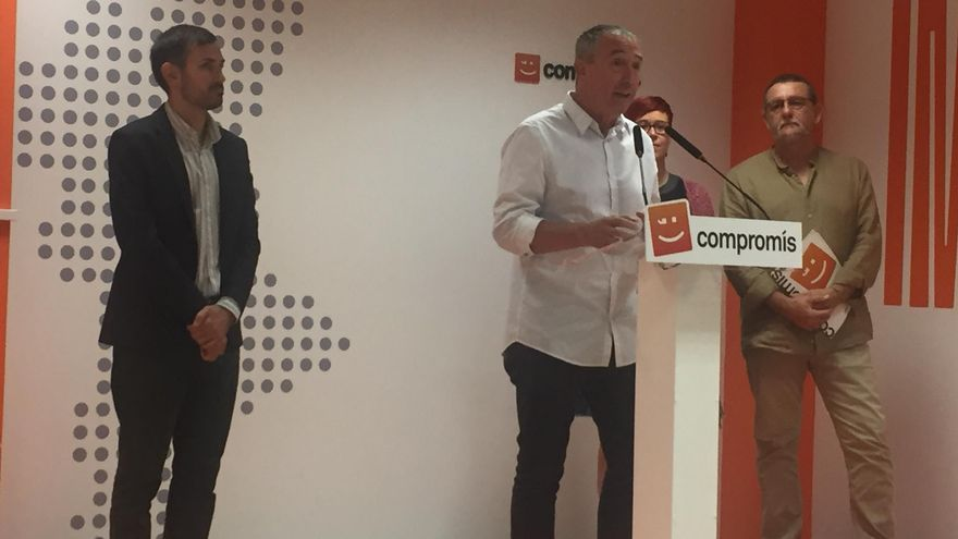 El candidato de Més Compromís en el Congreso, Joan Baldoví, junto a Srgi Campillo, Àgueda Micó y Juan Ponce