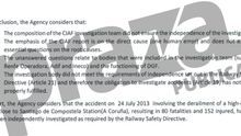 Una agencia europea crítica con Fomento, clave en el futuro del caso Alvia a los cuatro años del accidente
