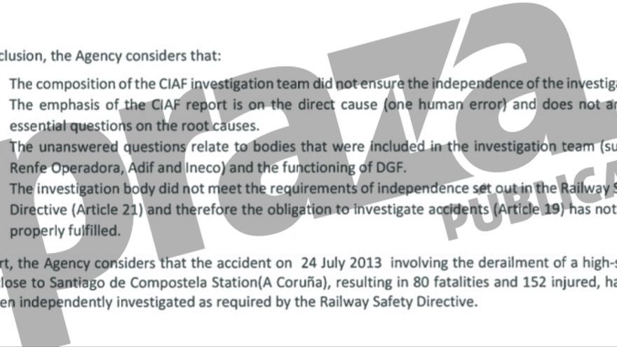 Fragmento del informe de la UE que ratifica que la investigación de Angrois no fue independiente