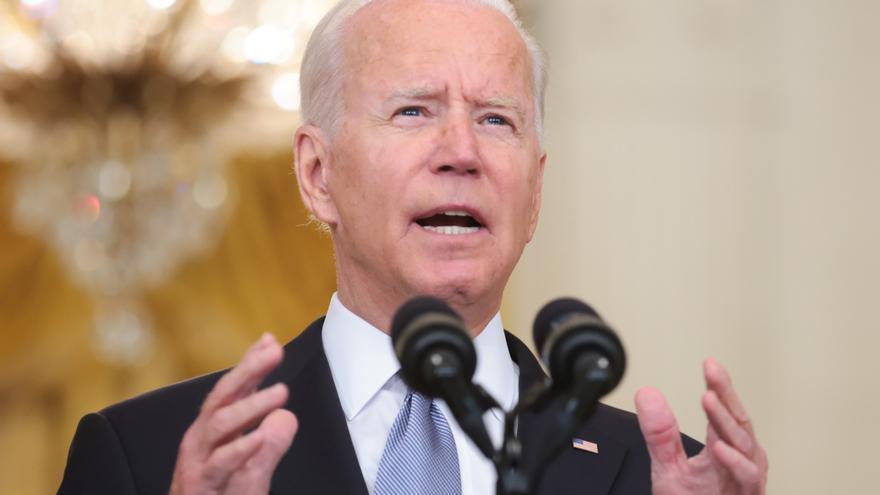 Joe Biden durante su comparecencia sobre la ofensiva talibán en Afganistán este lunes.
