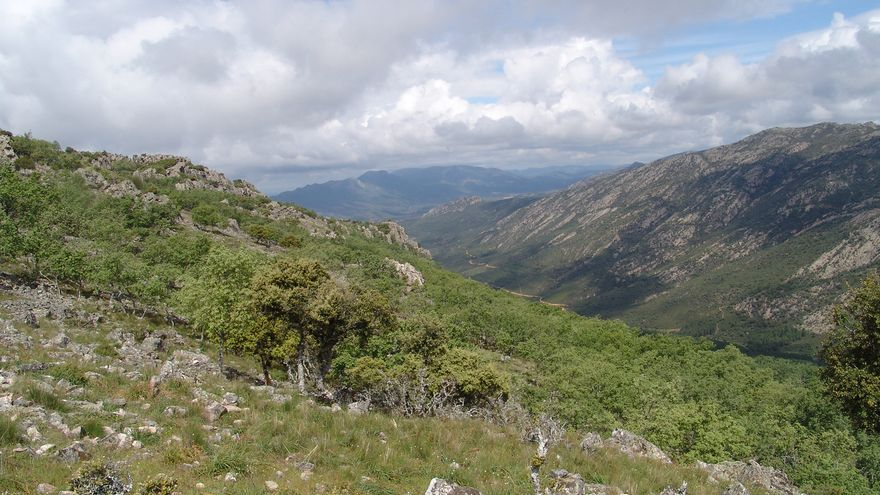 Vista de Sierra Madrona desde Sierra Quintana, en Fuencaliente, ZEC de Sierra Morena y el Parque Natural del Valle de Alcudia y Sierra Madron