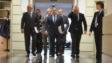Juan Ignacio Zoido acudiendo a su comparecencia en el Senado