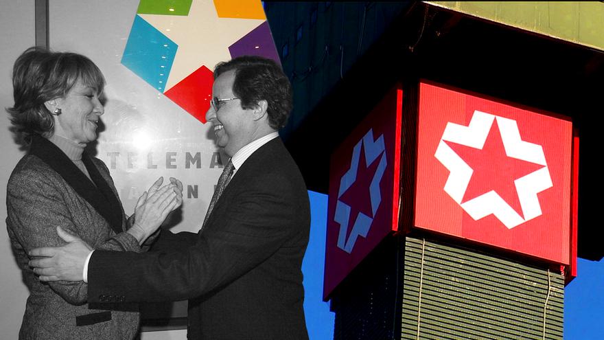 Aguirre y Manuel Soriano, su jefe de prensa al que nombró Director General de Telemadrid