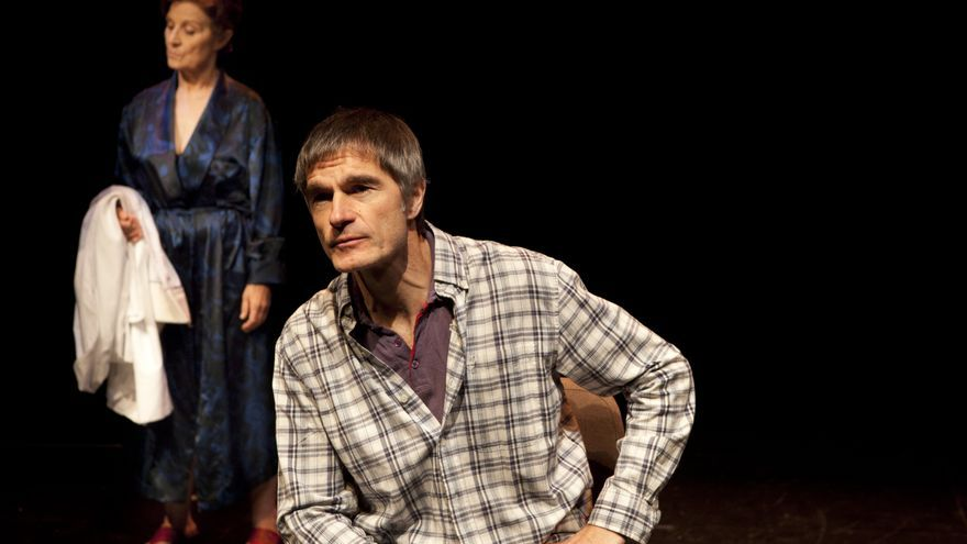 El actor José Luis Alcobendas durante un ensayo de 'Placenta'