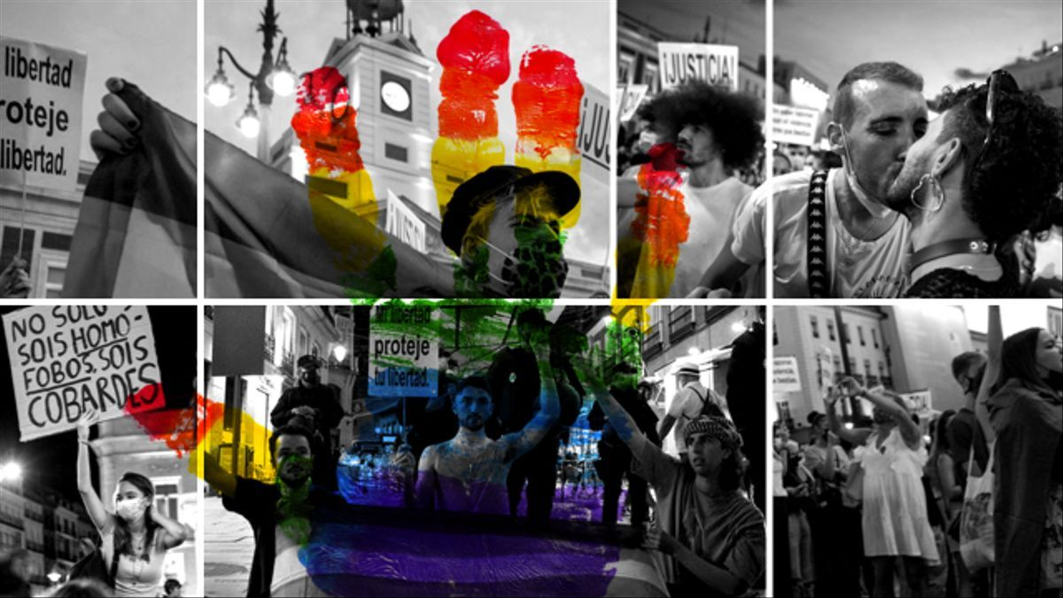 Manifestantes del colectivo LGTBI en las protestas contra las agresiones