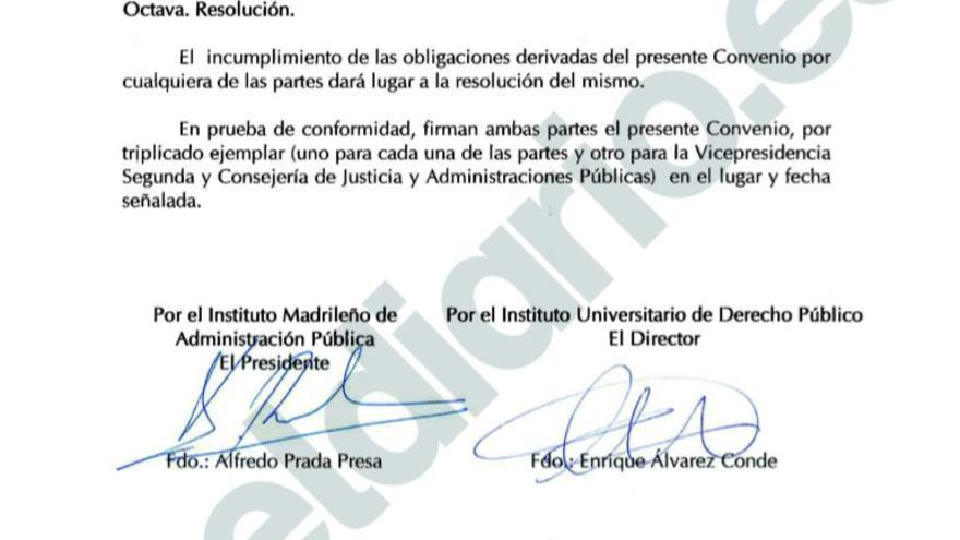 Extracto del convenio firmado entre Enrique Álvarez Conde y Alfredo Prada