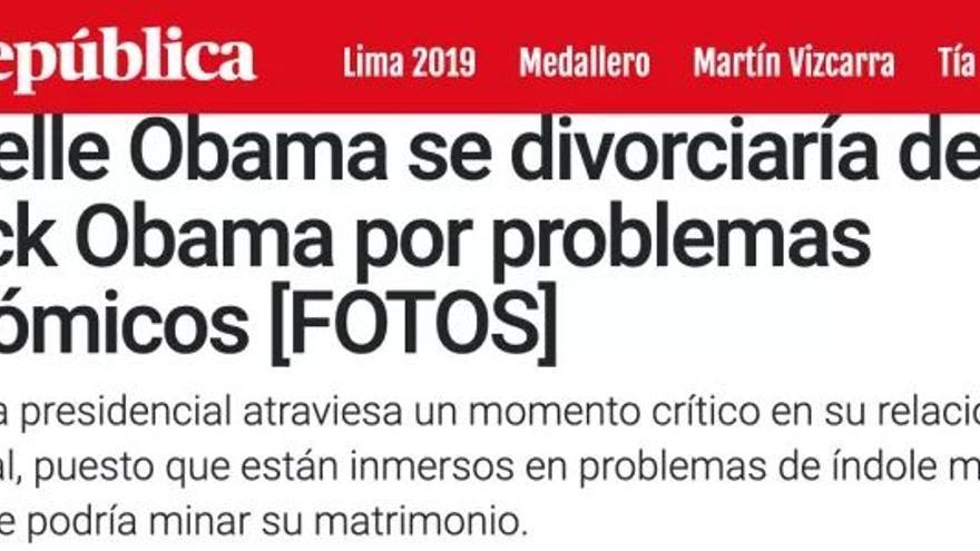 """Nueva """"noticia"""" de La República sobre el supuesto divorcio de los Obama."""