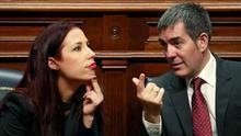 El presidente y la vicepresidenta del Gobierno de Canarias, Fernando Clavijo y Patricia Hernández durante el debate de la Ley de Presupuestos.