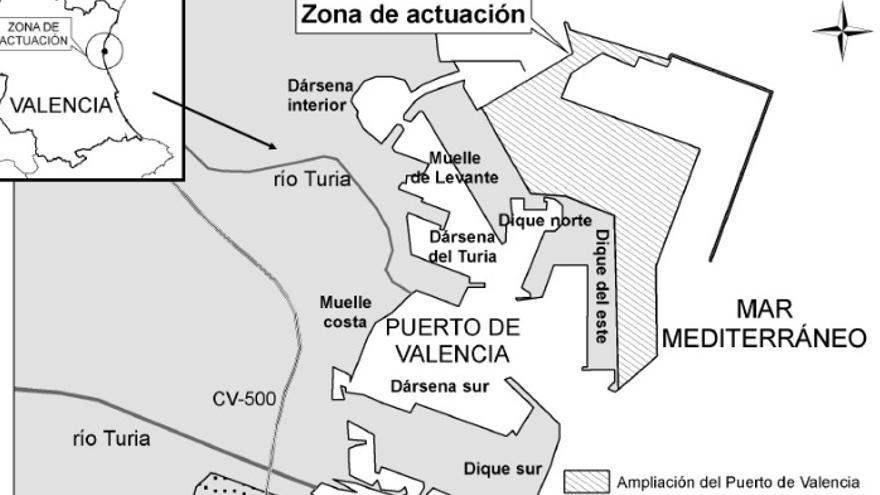 Proyecto para el que se concedió el informe ambiental favorable en 2007, con el contradique, la terminal de cruceros y sin la prolongación del dique de abrigo