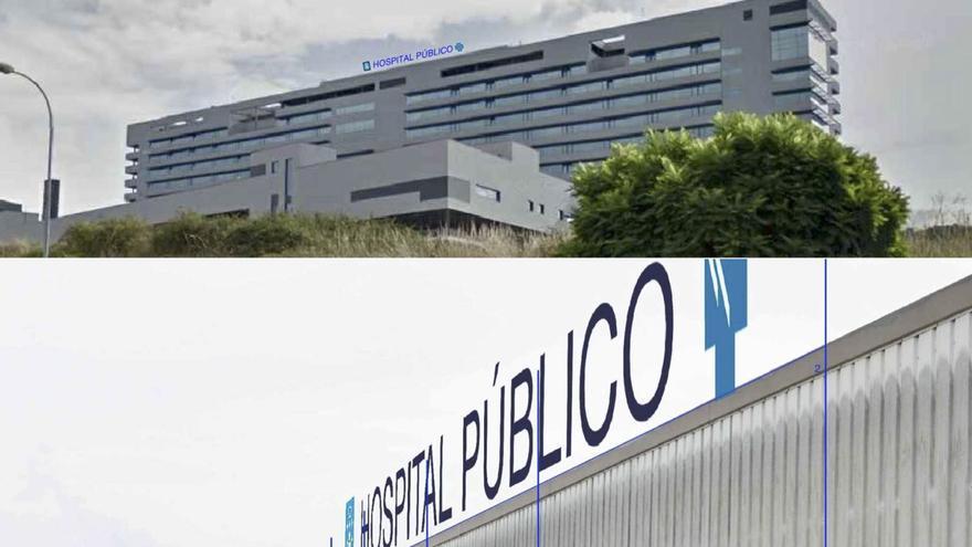 Recreación del aspecto de los nuevos letreros en los hospitales de Ourense (arriba) y Santiago