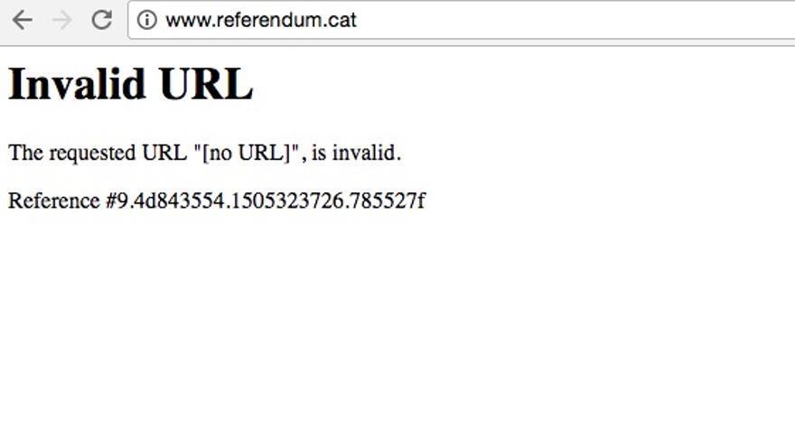 Mensaje que aparece en Chrome al intentar acceder a la web referendum.cat