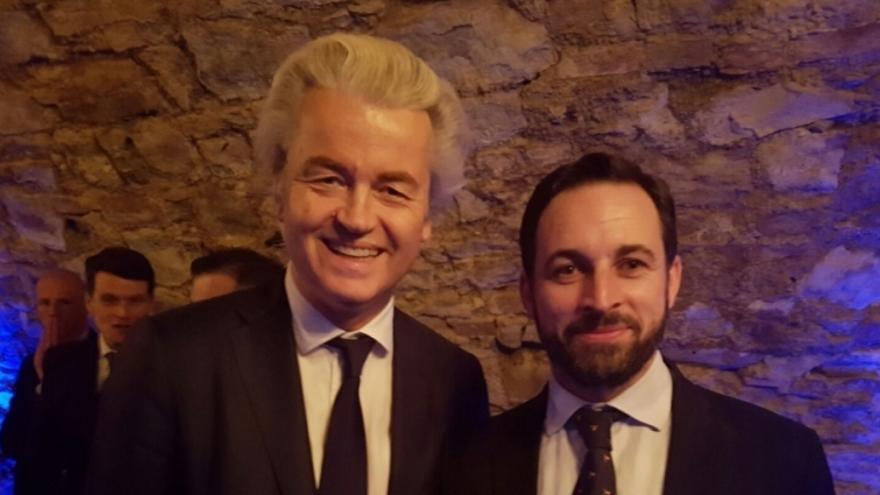 El presidente de Vox, Santiago Abascal, junto al holandés Geert Wilders