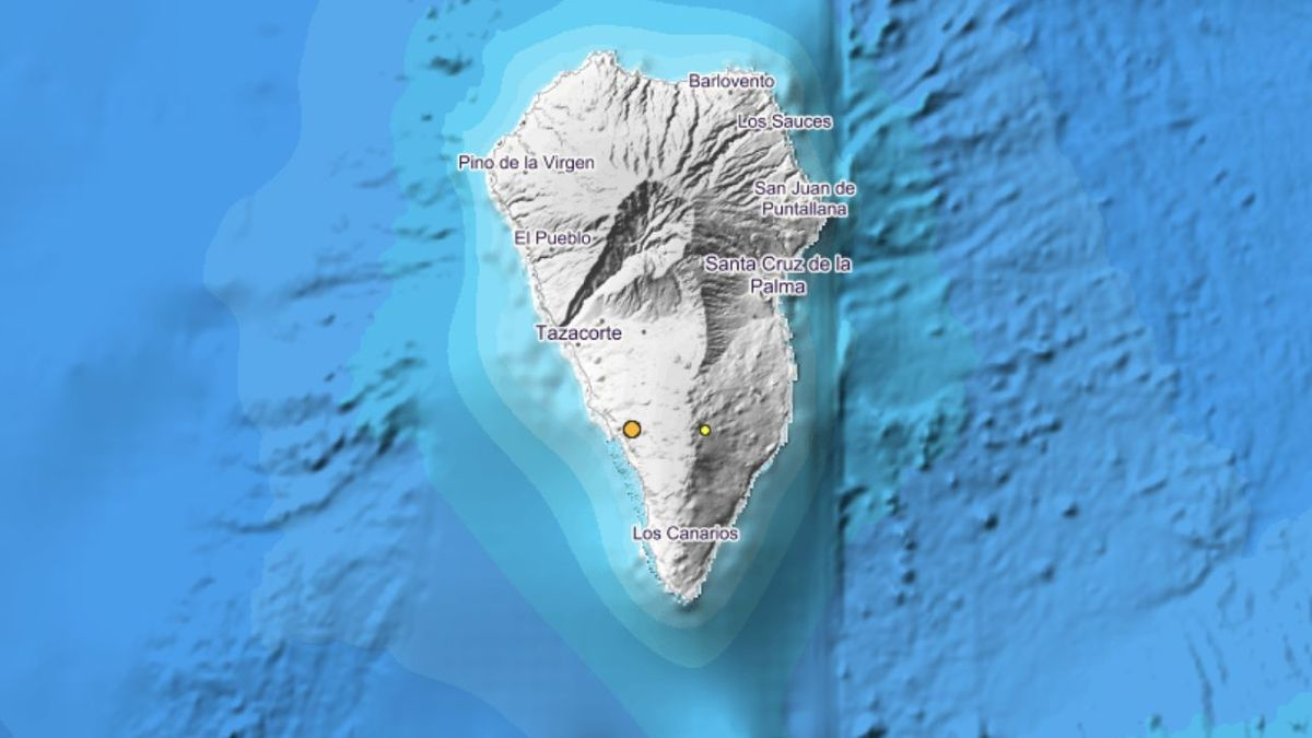 Imagen del IGN la que se indica el lugar exacto donde se han localizado los movimientos sísmicos este sábado, 21 de noviembre, en Villa de Mazo y El Paso.