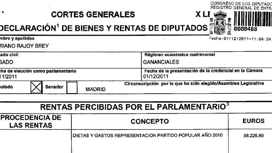 Declaración de ingresos de Rajoy en el Congreso en 2010