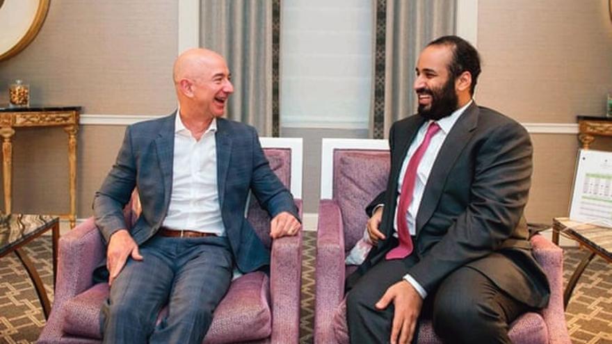 Jeff Bezos con Mohammed bin Salman durante su visita a EE.UU. en marzo de 2018