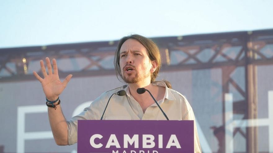 El secretario general de Podemos, Pablo Iglesias, durante la campaña electoral.