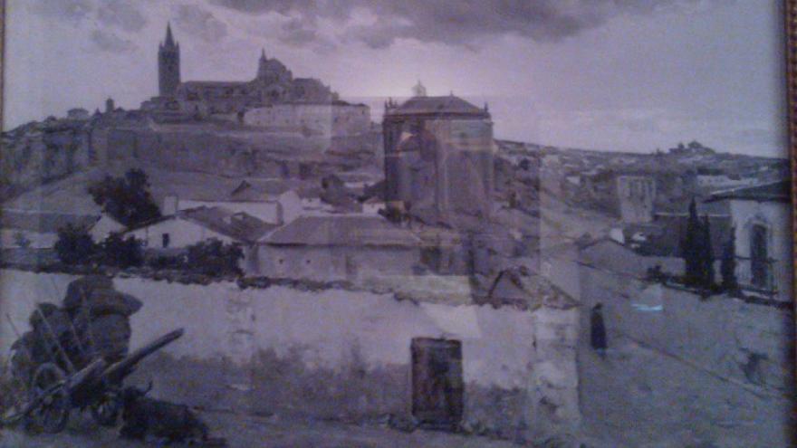 Vista de Orbajosa, acuarela de Aureliano de Beruete (a finales de 1895), firmada y dedicada, abajo a la derecha. Se conserva en la Casa-Museo de Pérez Galdós en Las Palmas de Gran Canaria.