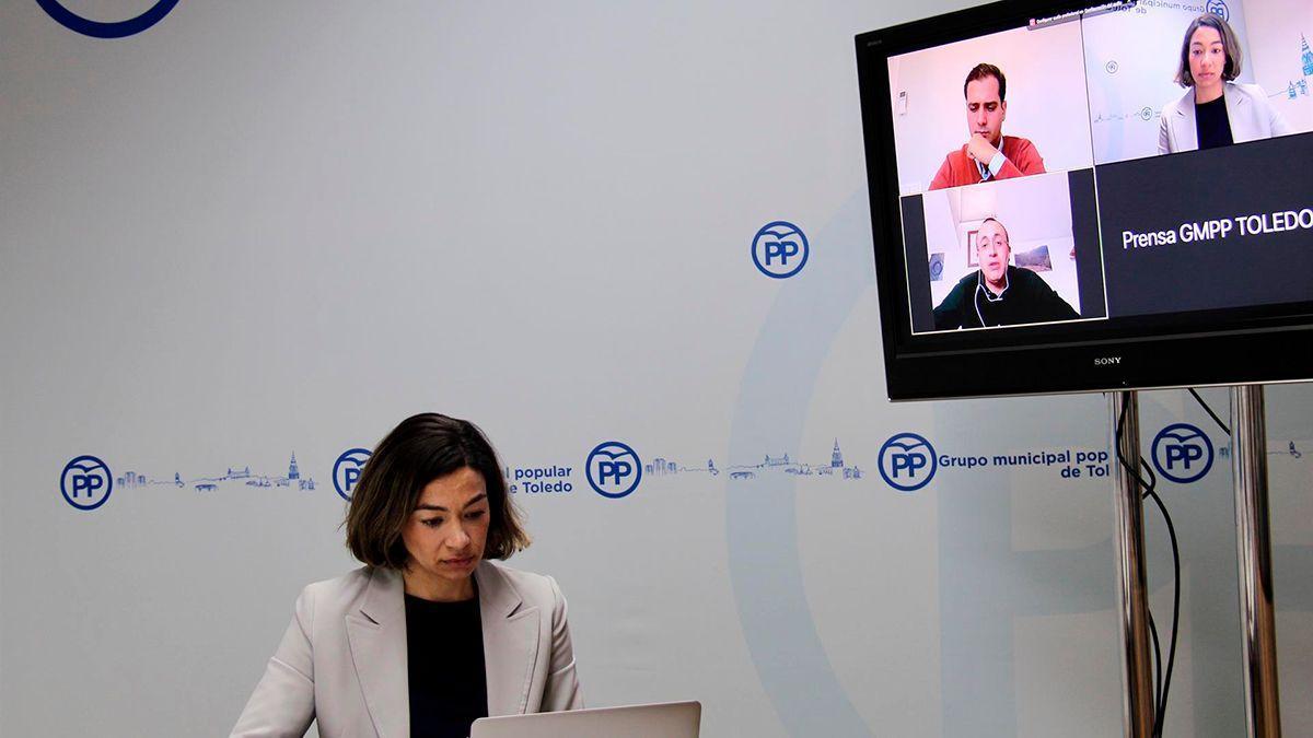 La portavoz del PP en Toledo, Claudia Alonso, en reunión telemática con los portavoces populares en Segovia y Jaén.