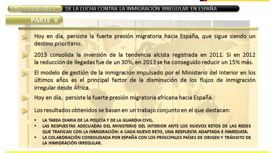 'Datos generales' a modo de conclusiones en el informe de llegadas irregulares presentadas en el informe de Interior de 2013