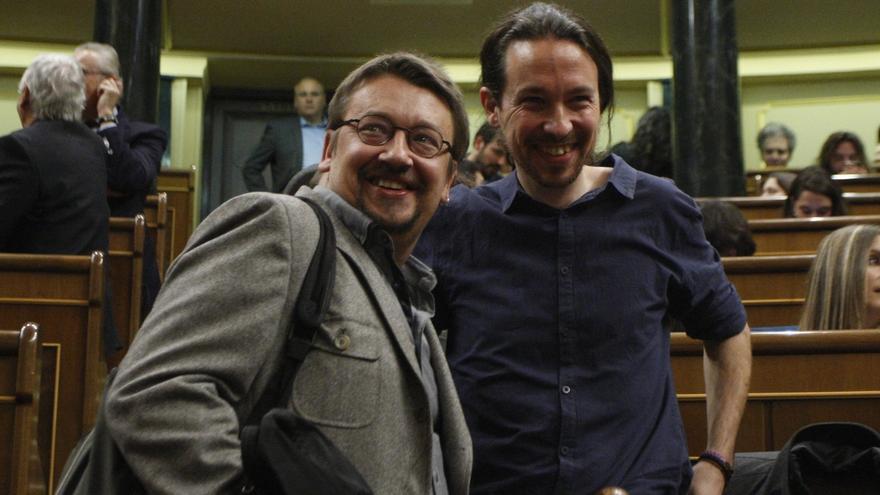 Xavier Domènech junto a Pablo Iglesias en la jornada de constitución del Congreso