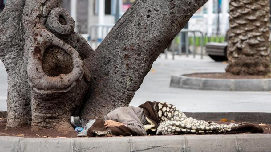 Una persona duerme en el parterre del parque de San Telmo, en Las Palmas de Gran Canaria.