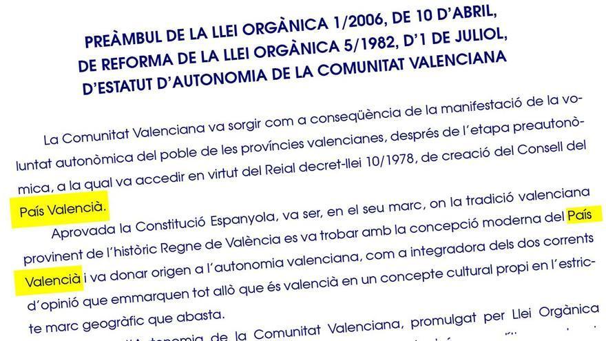 Una imatge del preàmbul de l'Estatut d'Autonomia del País Valencià.