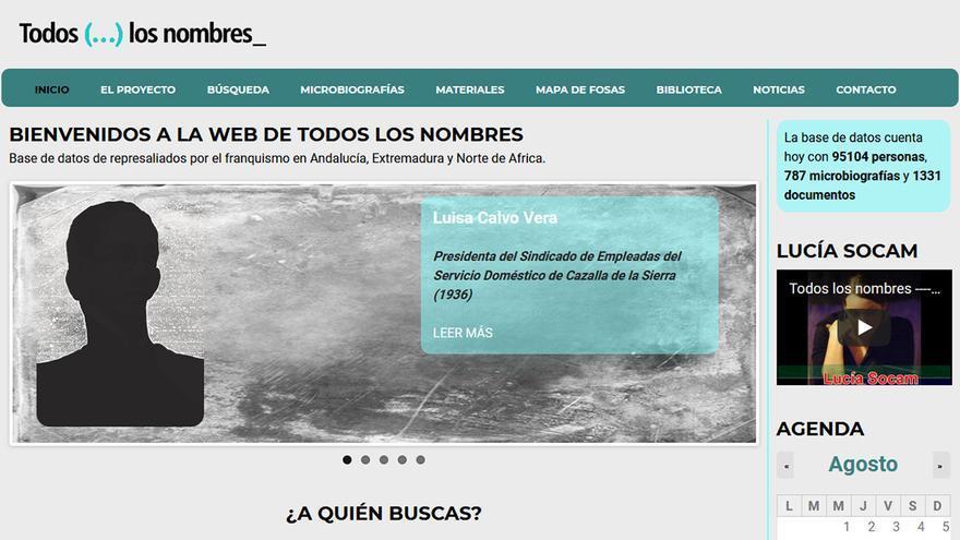 Página web del proyecto 'Todos (…) los nombres_'.