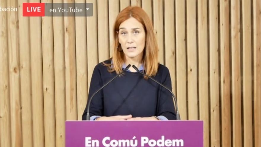 La líder de los comuns en el Parlament, Jéssica Albiach, en rueda de prensa telemática el viernes 20 de noviembre de 2020