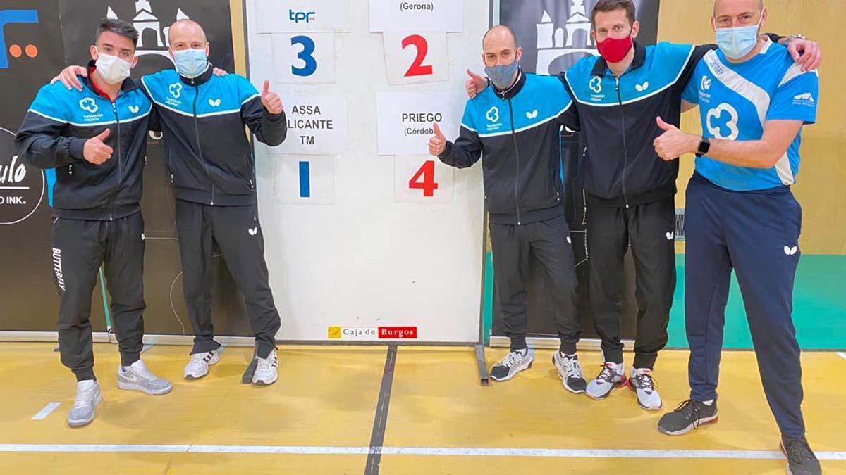 Componentes del Cajasur Priego tras vencer al Alicante