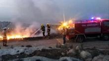 El Grupo de Defensa Civil de Palestina apagando el fuego en Líbano