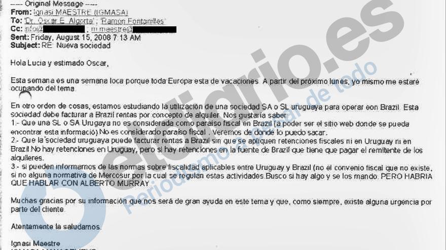 Captura del email enviado por Ignasi Maestre.
