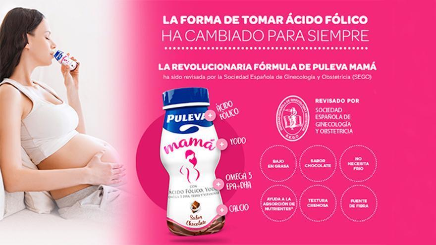 Puleva Mamá aporta el 100% del ácido fólico diario recomendado durante el embarazo.