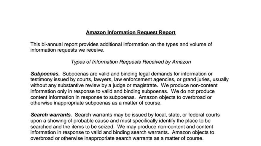 Amazon Information Request Report
