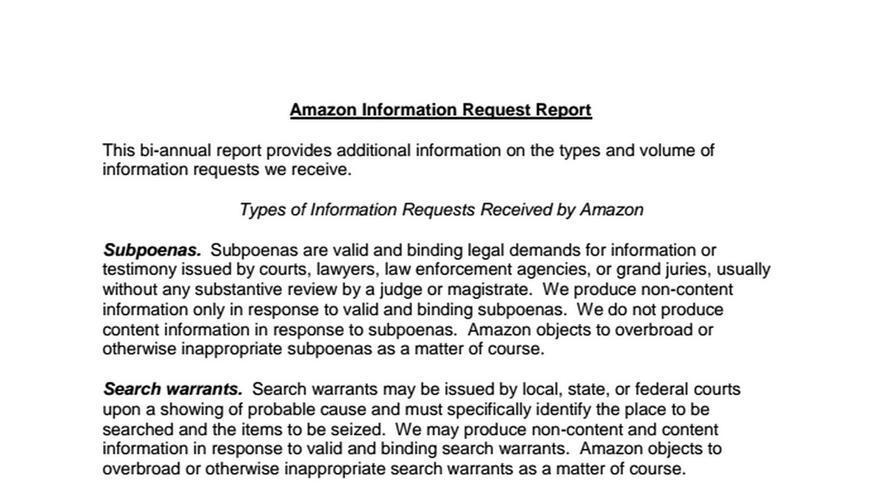 Amazon Information Request Report