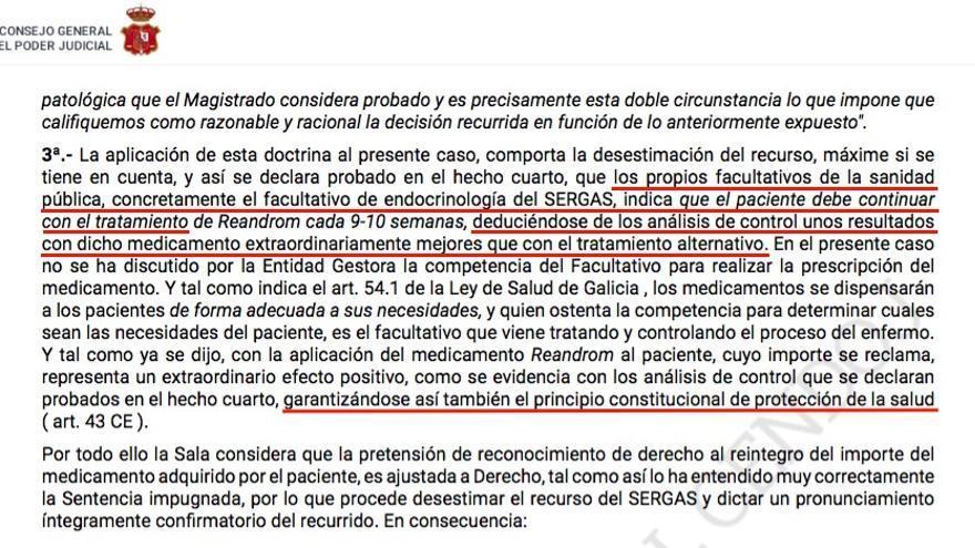 Fragmento de la sentencia que condena a la Xunta