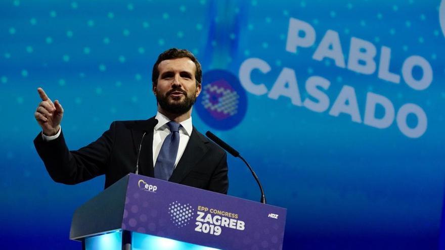 Pablo Casado, este jueves, durante su intervención en el Congreso del PP europeo.