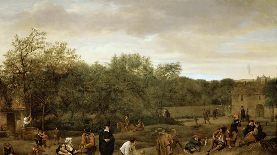 Partida de bolos (1655). | Jan Steen