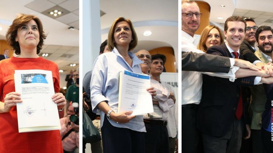 Los precandidatos Sáenz de Santamaría, Cospedal y Casado.