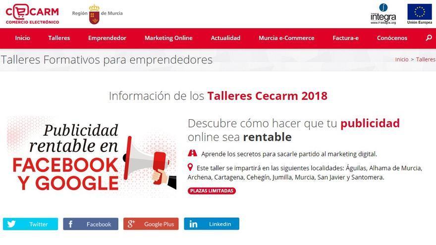 El taller Cecarm sobre publicidad en Facebook y Google empieza mañana martes en Cehegín