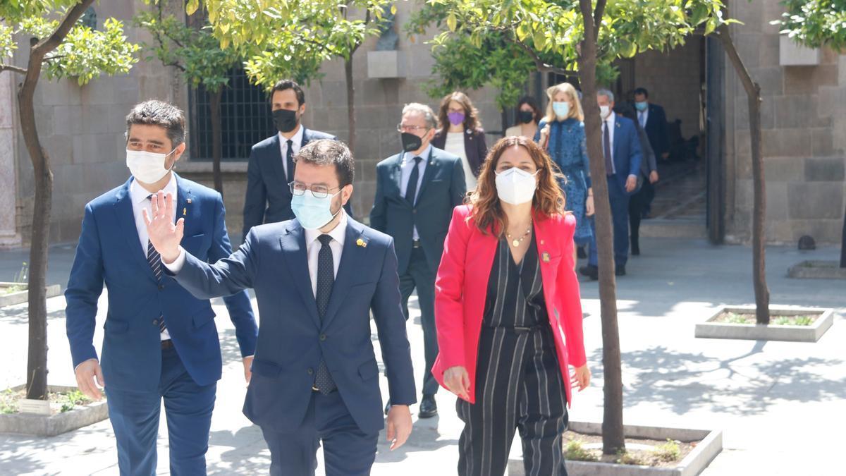 Aragonès y los miembros del Govern, en su primera reunión en mayo pasado
