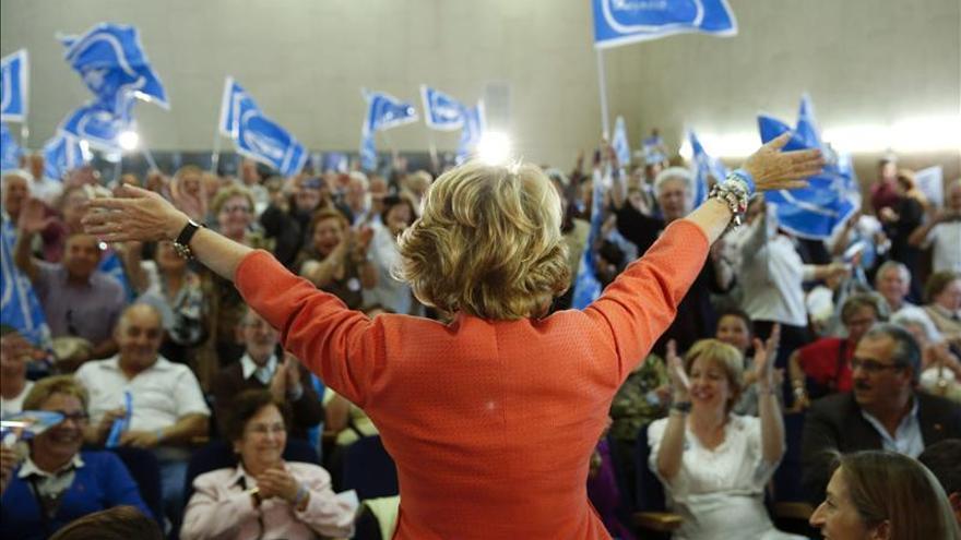 Esperanza Aguirre, durante un acto de campaña.