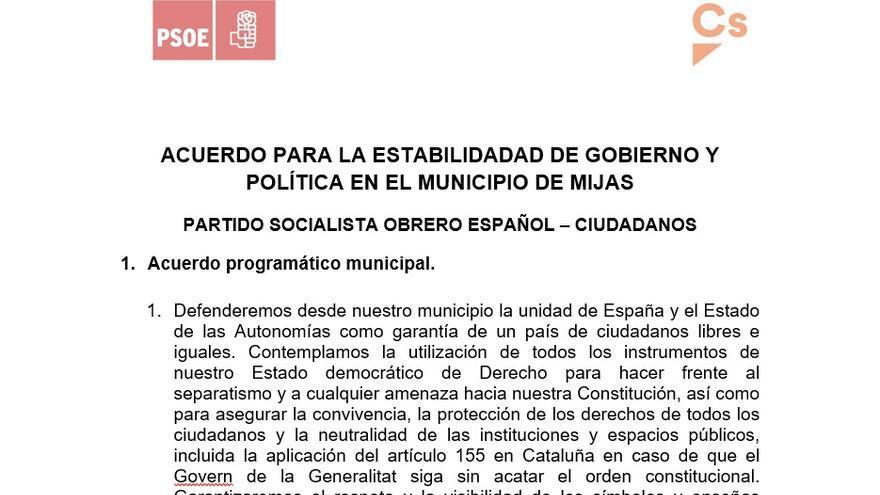 Encabezamiento del acuerdo de gobierno en Mijas