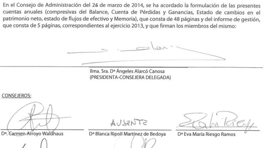 Firmas de las cuentas de Paradores en 2013.