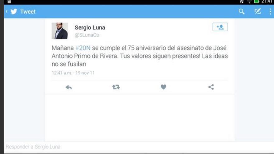 Pantallazo de la supuesta cuenta de Twitter del concejal en Soto del Real Sergio Luna.