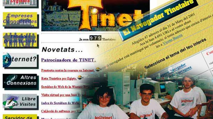Una de las primeras versiones de la portada de la web TINET y una foto de tres voluntarios de la iniciativa